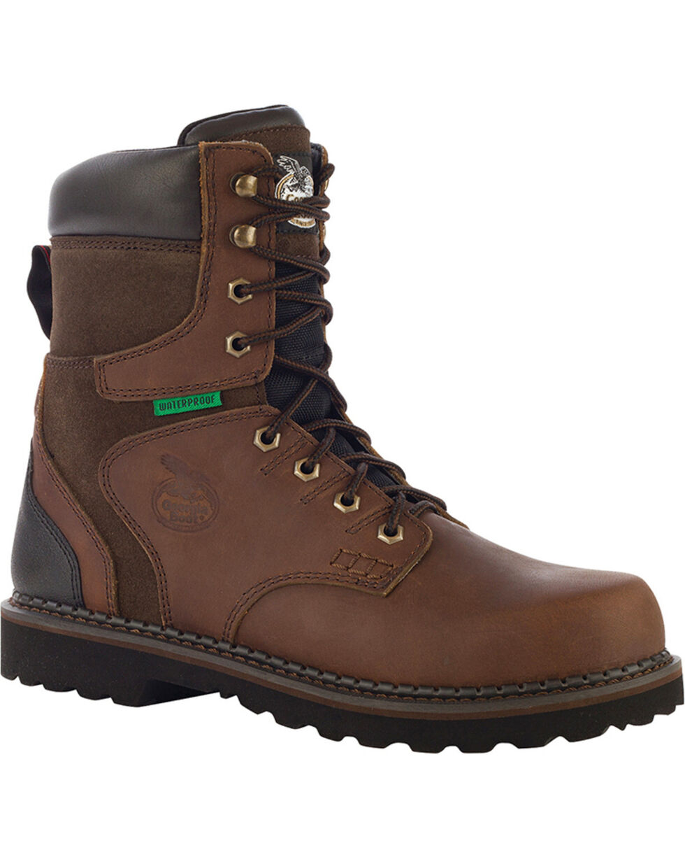 Georgia Men's Waterproof Brookville Work Boots - Steel Toe , Brown, hi-res