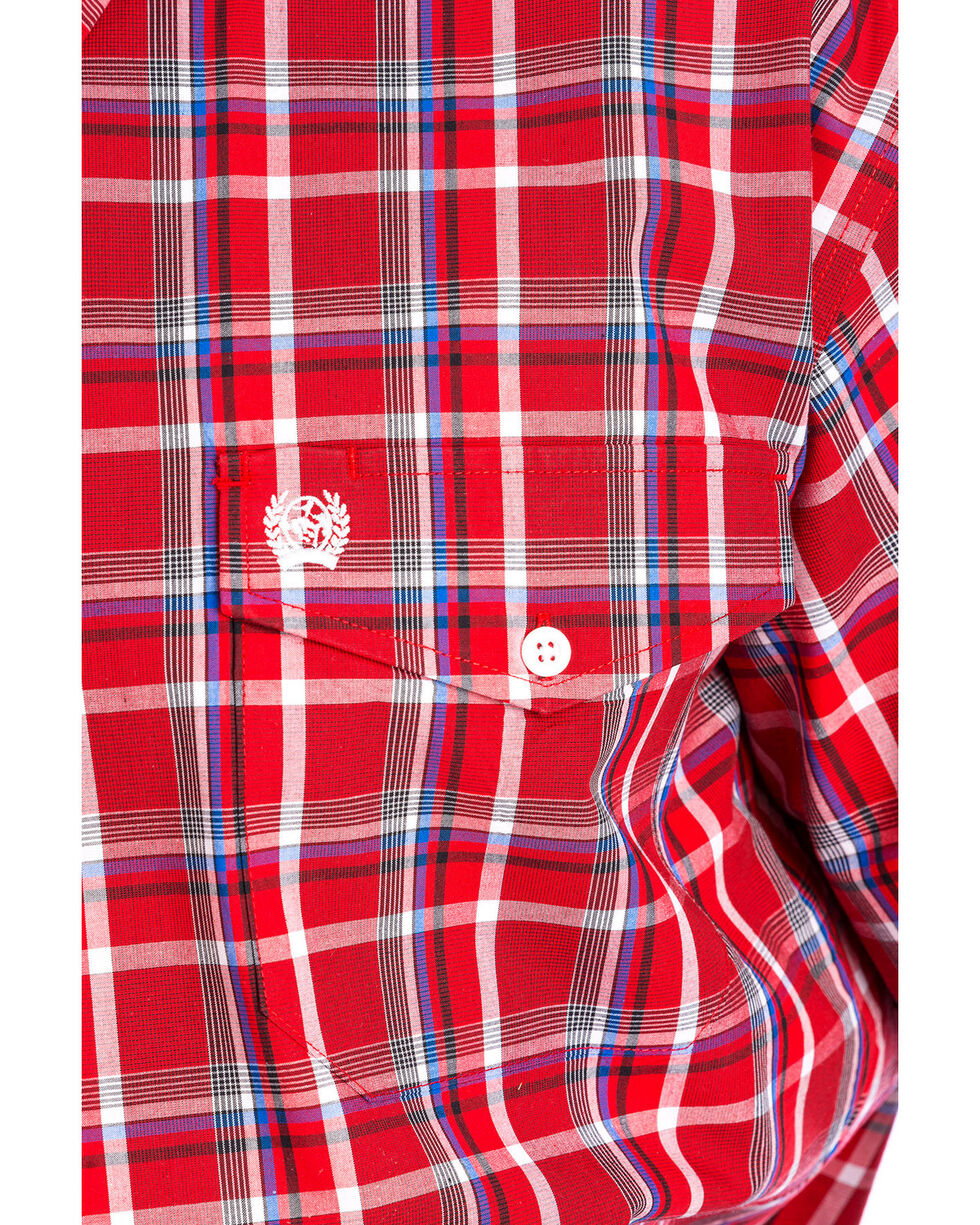Cinch Men's Red Plaid Short Sleeve Double Pocket Shirt, Red, hi-res