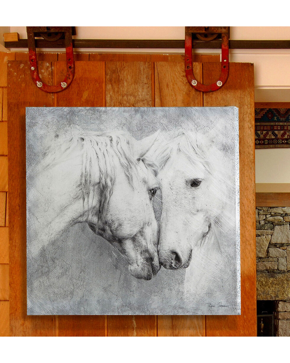 Evergreen Meeting Horses Indoor Wall Canvas , Grey, hi-res