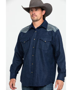 Pendelton Men's Navy Jacquard Solid Long Sleeve Western Flannel Shirt , Navy, hi-res