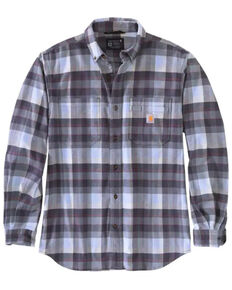 Carhartt Men's Folstone Grey Plaid Rugged Flex Midweight Long Sleeve Button-Down Work Flannel Shirt , Grey, hi-res