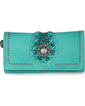 Trinity Ranch Women's Turquoise Filigree Tri-Fold Wallet O, Turquoise, hi-res