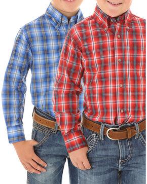 Wrangler Boys' Plaid Long Sleeve Shirt, Multi, hi-res