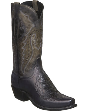Lucchese Men's Handmade Bryson Grey Caiman Inlay Western Boots - Square Toe, Grey, hi-res