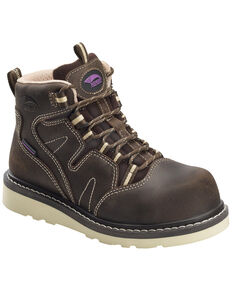Avenger Women's Waterproof Wedge Work Boots - Composite Toe, Brown, hi-res