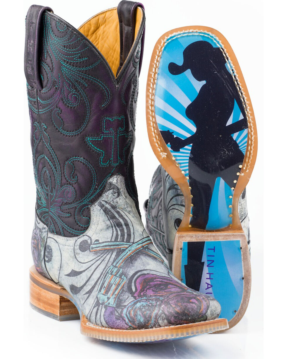 Tin Haul Women's Don't Bring Your Guns & Roses Cowgirl Boots - Square Toe, Purple, hi-res