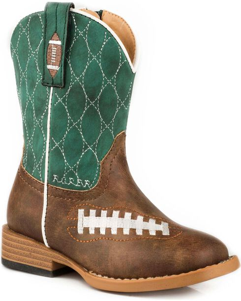 Roper Toddle Boys' Friday Night Football Western Boots - Square Toe , Brown, hi-res