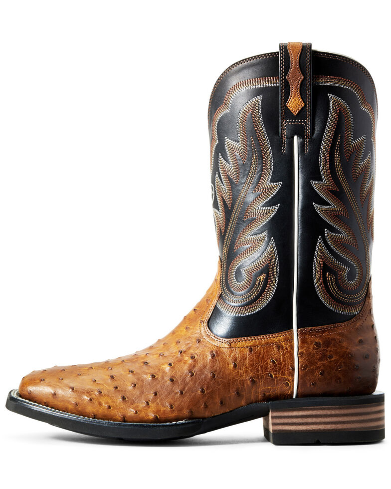 Ariat Men's Promoter Full Quill Ostrich Western Boots - Square Toe, Brown, hi-res