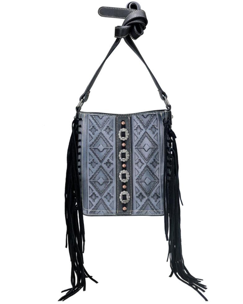 Trinity Ranch Women's Tribal Embossed Fringe Crossbody Bag, Black, hi-res