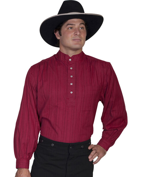 Rangewear by Scully Natural Old Fashioned Railroader Shirt, Burgundy, hi-res