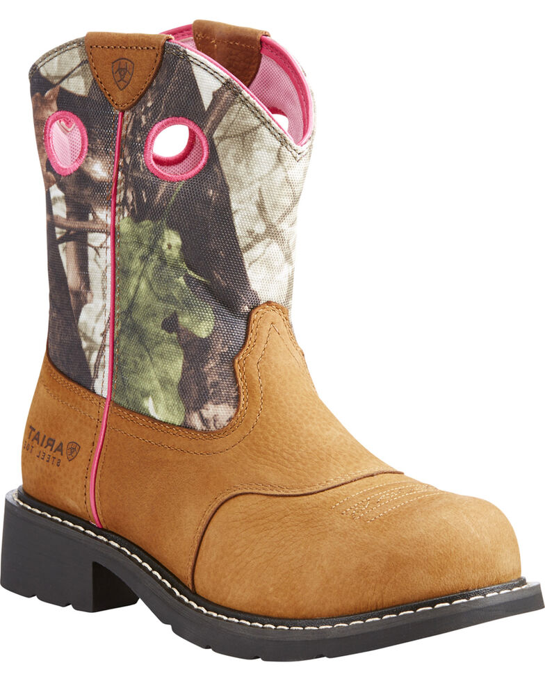 be72a73ca29 Ariat Women's Light Brown Fatbaby Camo Upper Boots - Steel Toe