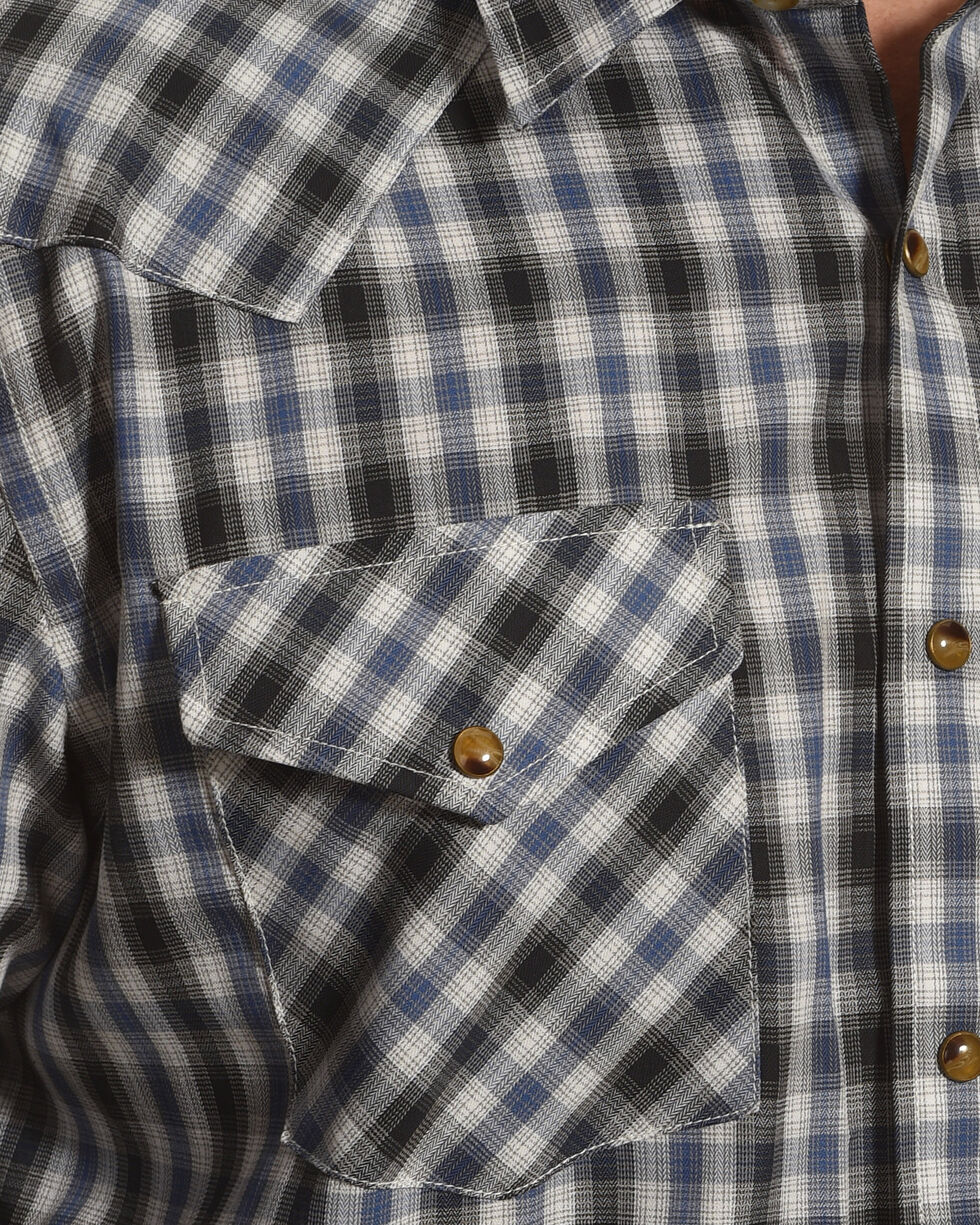 Pendleton Men's Navy Grey Herringbone Plaid Long Sleeve Shirt, Navy, hi-res