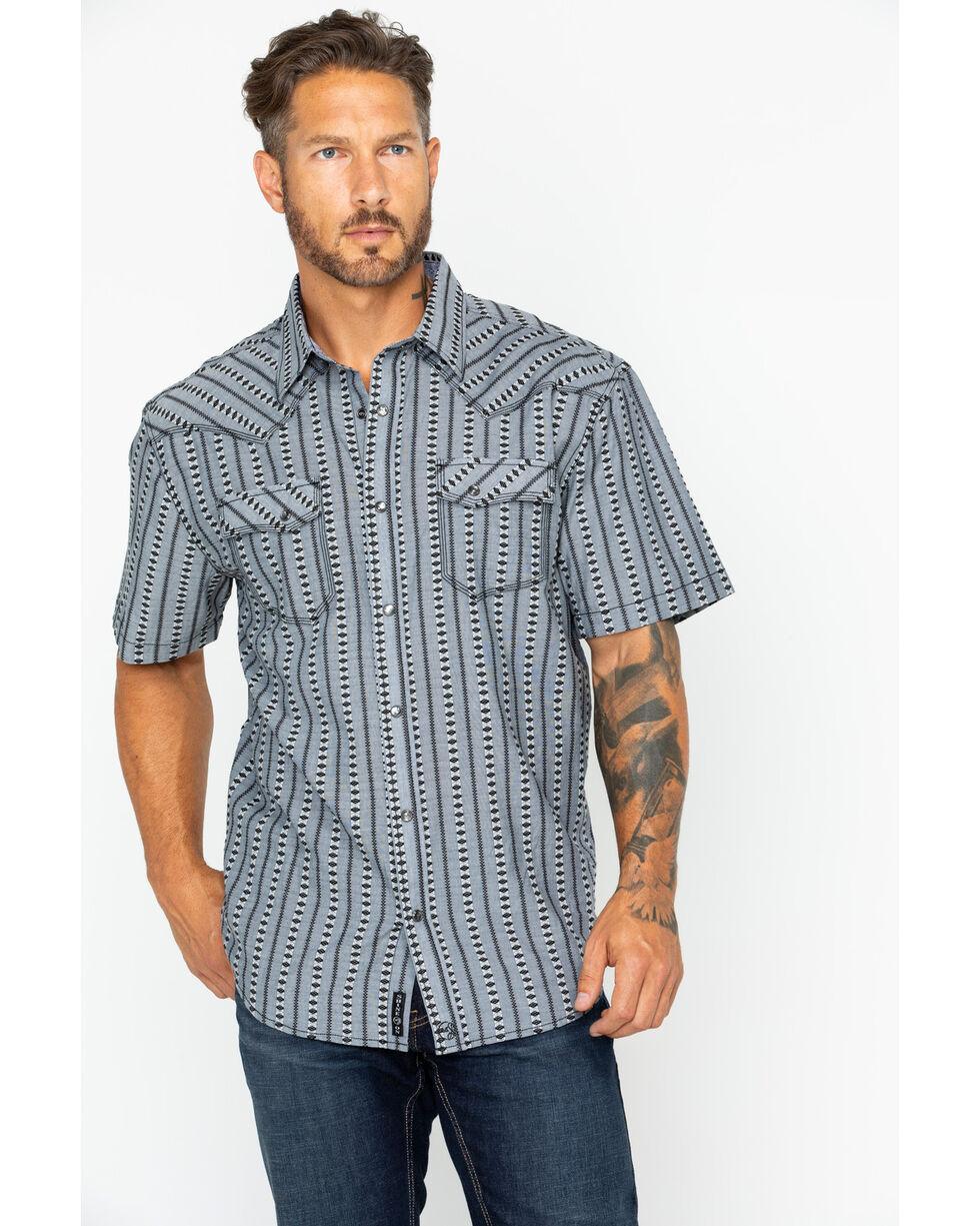 Moonshine Spirit Men's Rio Secco Striped Short Sleeve Western Snap Shirt, Black, hi-res