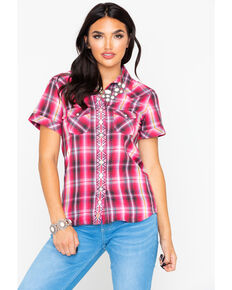 9e2bfcbc8f5eb Panhandle Womens Plaid Front Placket Embroidered Short Sleeve Western Shirt