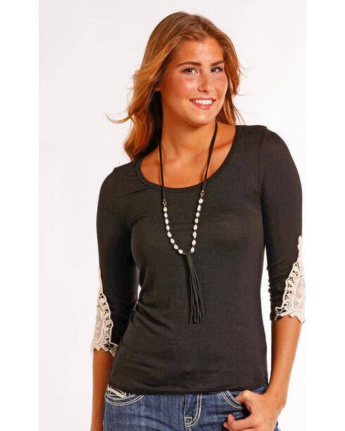 Panhandle Women's Lace Trim T-Shirt , Black, hi-res