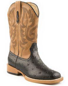 Roper Boys' Faux Ostrich Print Cowboy Boots, Black, hi-res