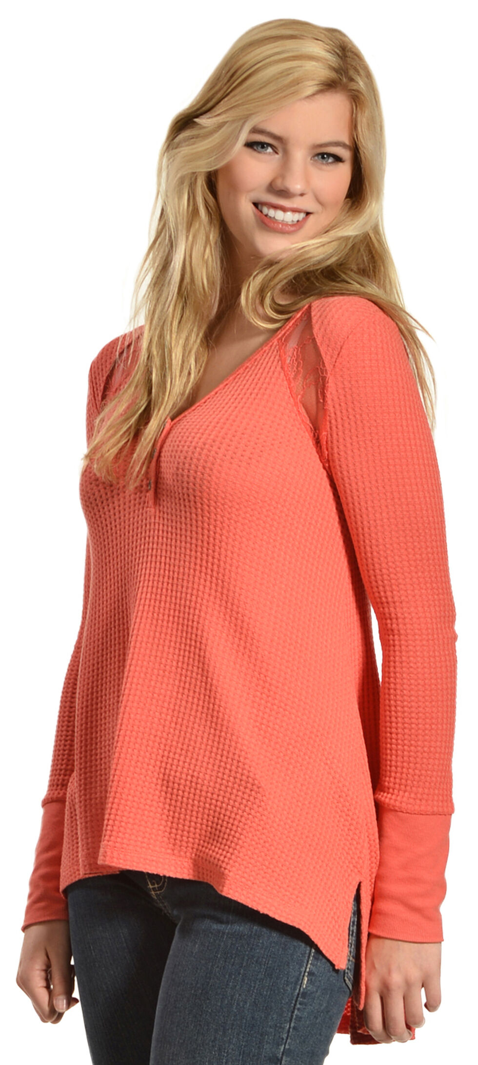 Others Follow Women's Waffle Lace Top, Coral, hi-res