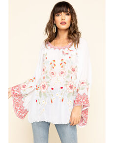 Johnny Was Women's White Grace Bell Sleeve Top, White, hi-res