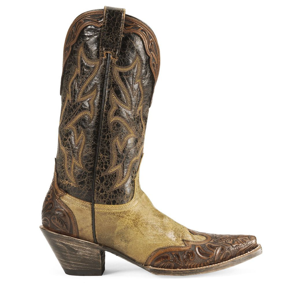 Stetson Tan Hand Tooled Overlay Cowgirl Boots - Snip Toe, Tan, hi-res