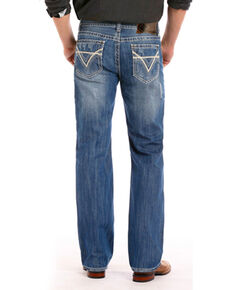 Rock & Roll Cowboy Men's Blue Raised Denim Jeans - Straight Leg , Medium Blue, hi-res