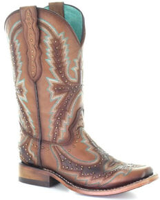 Corral Women's Tan Embroidery & Studs Western Boots - Square Toe, Tan, hi-res