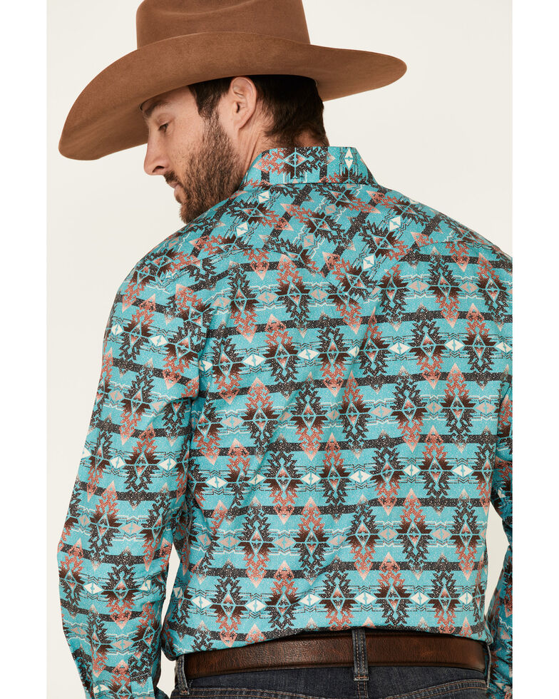 Rock & Roll Denim Men's Teal Aztec Print Long Sleeve Western Shirt , Multi, hi-res