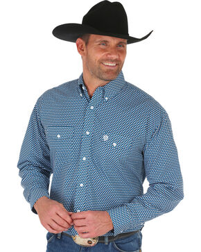 Wrangler George Strait Men's Teal Geo Print Shirt - Big & Tall, Teal, hi-res