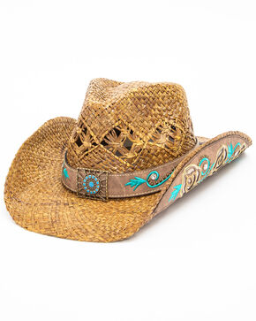 Shyanne Women's Mena Concho Straw Hat, Natural, hi-res