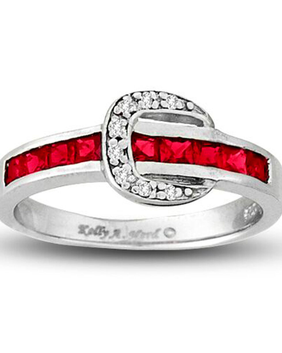 Kelly Herd Women's Red Contemporary Buckle Ring , Red, hi-res