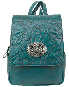 American West Women's Lariats Hand Tooled Turquoise Backpack, Turquoise, hi-res