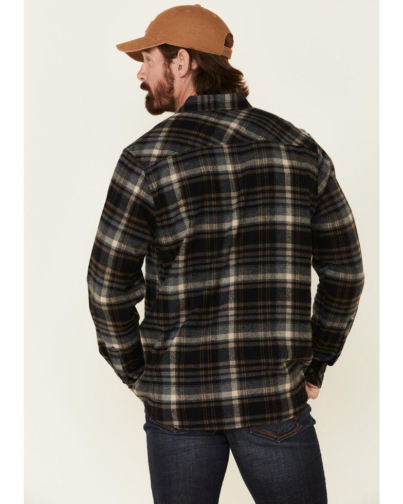 North River Men's Black Barn Plaid Long Sleeve Western Flannel Shirt , Black, hi-res