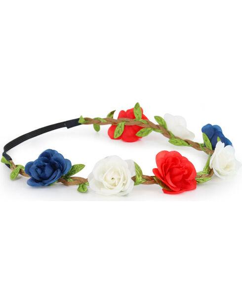 Shyanne Women's Braided Americana Flower Crown Headband , Red/white/blue, hi-res