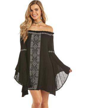 Rock & Roll Cowgirl Women's Black Cascade Bell Sleeve Dress , Black, hi-res