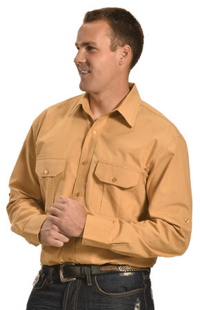 Cowboy Legend Men's Tan Ripstop Western Work Shirt , Tan, hi-res