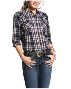 Ariat Women's Peacoat Plaid REAL Virtue Long Sleeve Western Shirt , Oatmeal, hi-res