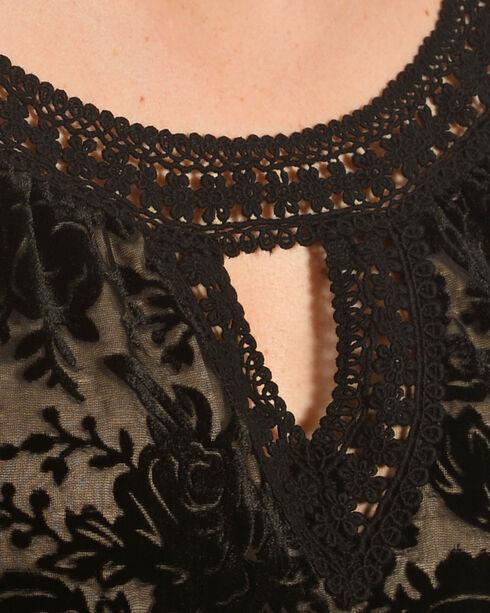 Bila Women's Black Floral Lace Cold Shoulder Top , Black, hi-res