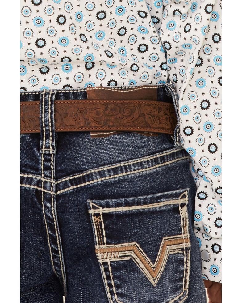 Rock & Roll Denim Boys' Dark Vintage Embroidered Pocket Stretch Bootcut Jeans , Indigo, hi-res