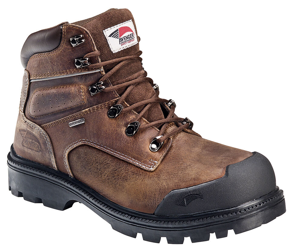 Avenger Men's Brown Waterproof Breathable Work Boots - Steel Toe, Brown, hi-res