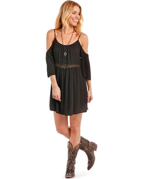 Panhandle Women's Cold Shoulder Lace Inset Crinkle Dress, Black, hi-res