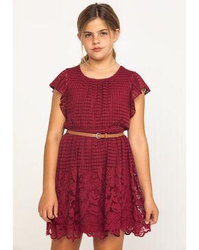 Shyanne Girls' Lace Detailed Short Sleeve Dress , Burgundy, hi-res