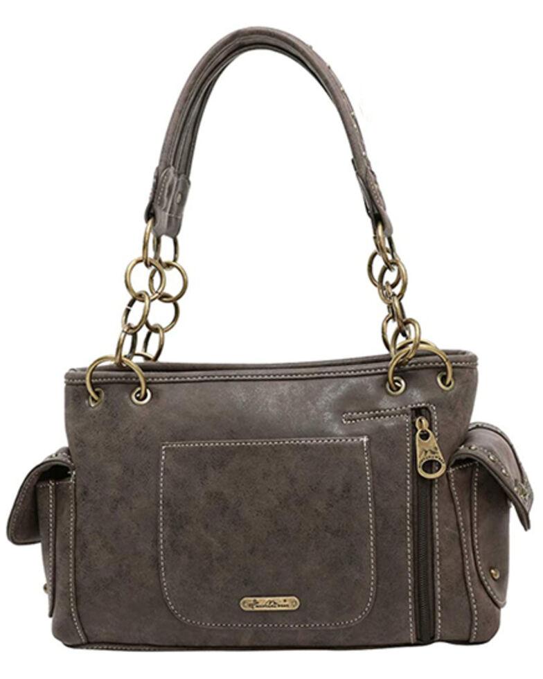 Montana West Women's Aztec Satchel Bag, Dark Brown, hi-res