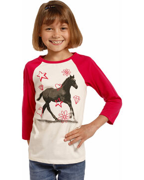 Rock & Roll Cowgirl Girls' Horse Graphic Long Sleeve Tee, White, hi-res