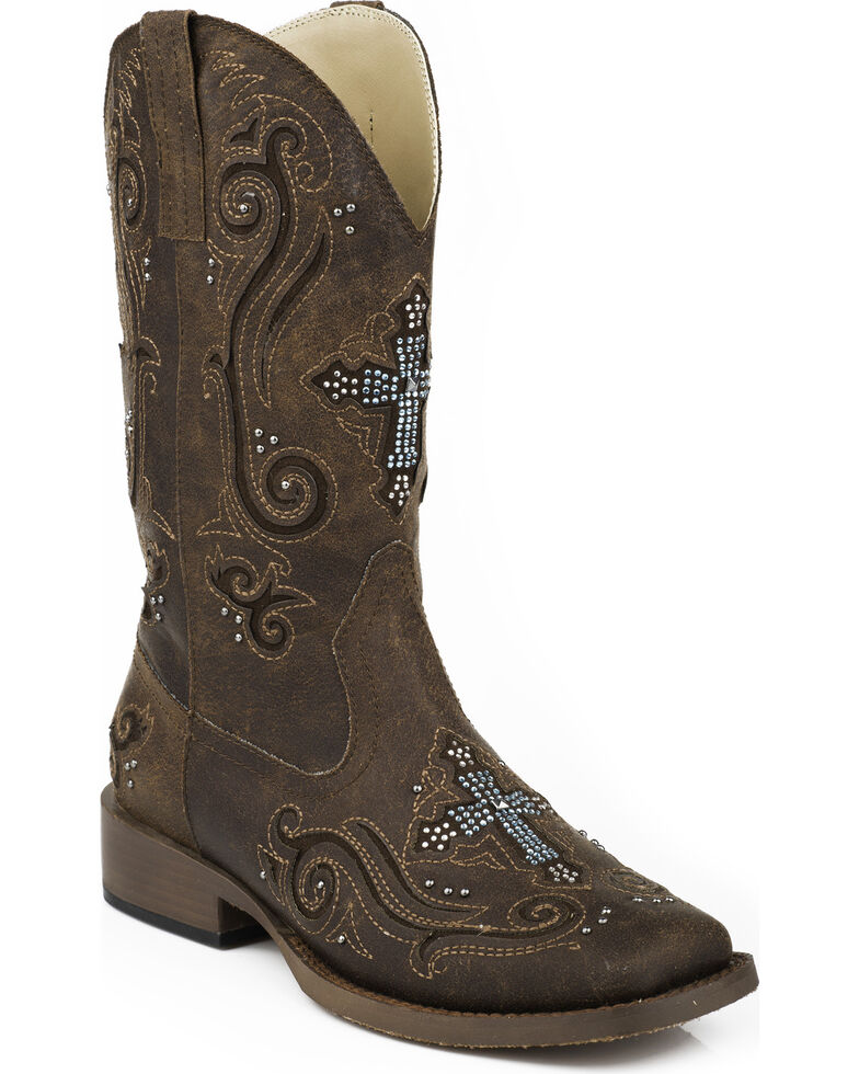 Roper Bling Crystal Cross Faux Leather Cowgirl Boots - Square Toe, Brown, hi-res