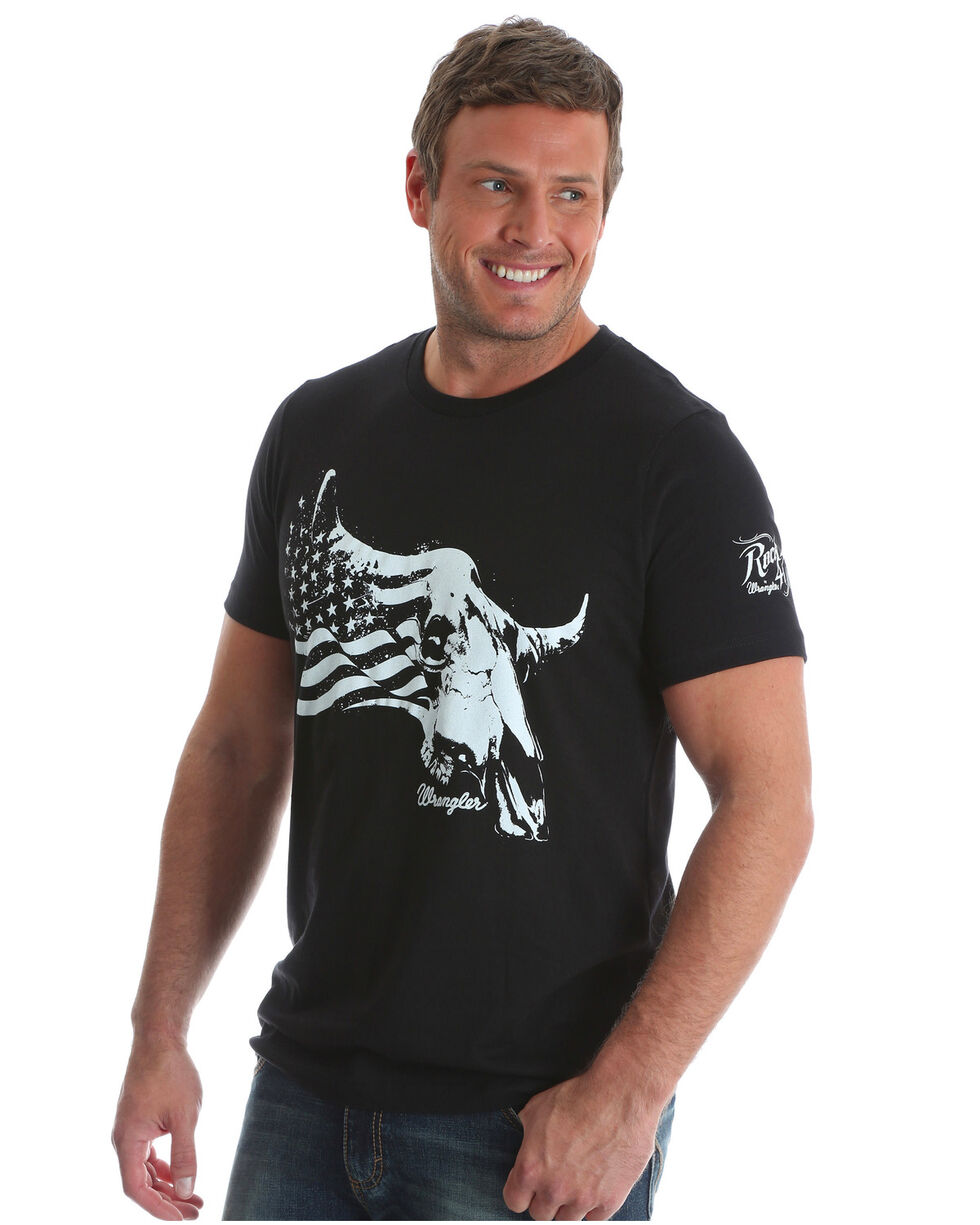Wrangler Rock 47 Men's Steerhead Americana Flag T-Shirt, Black, hi-res
