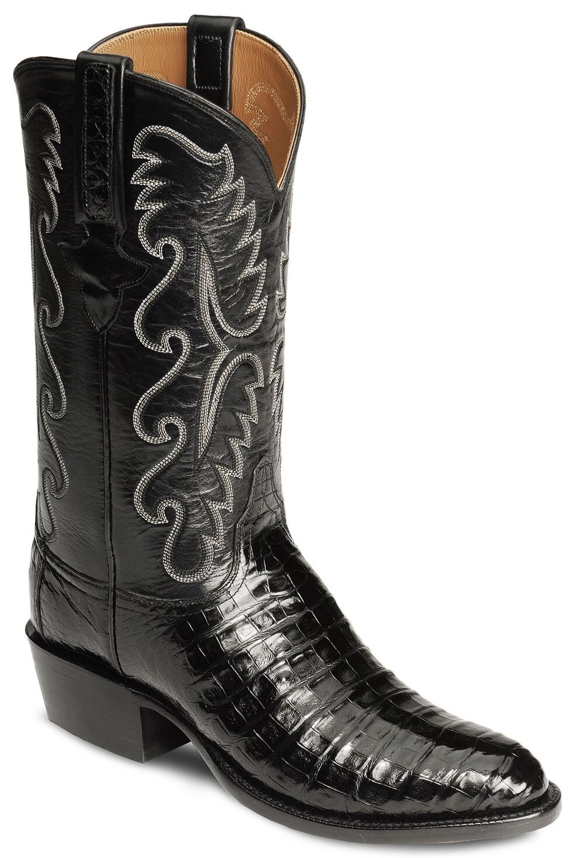 Lucchese Handmade Classics Caiman Ultra Belly Cowboy Boots - Medium Toe, Black, hi-res