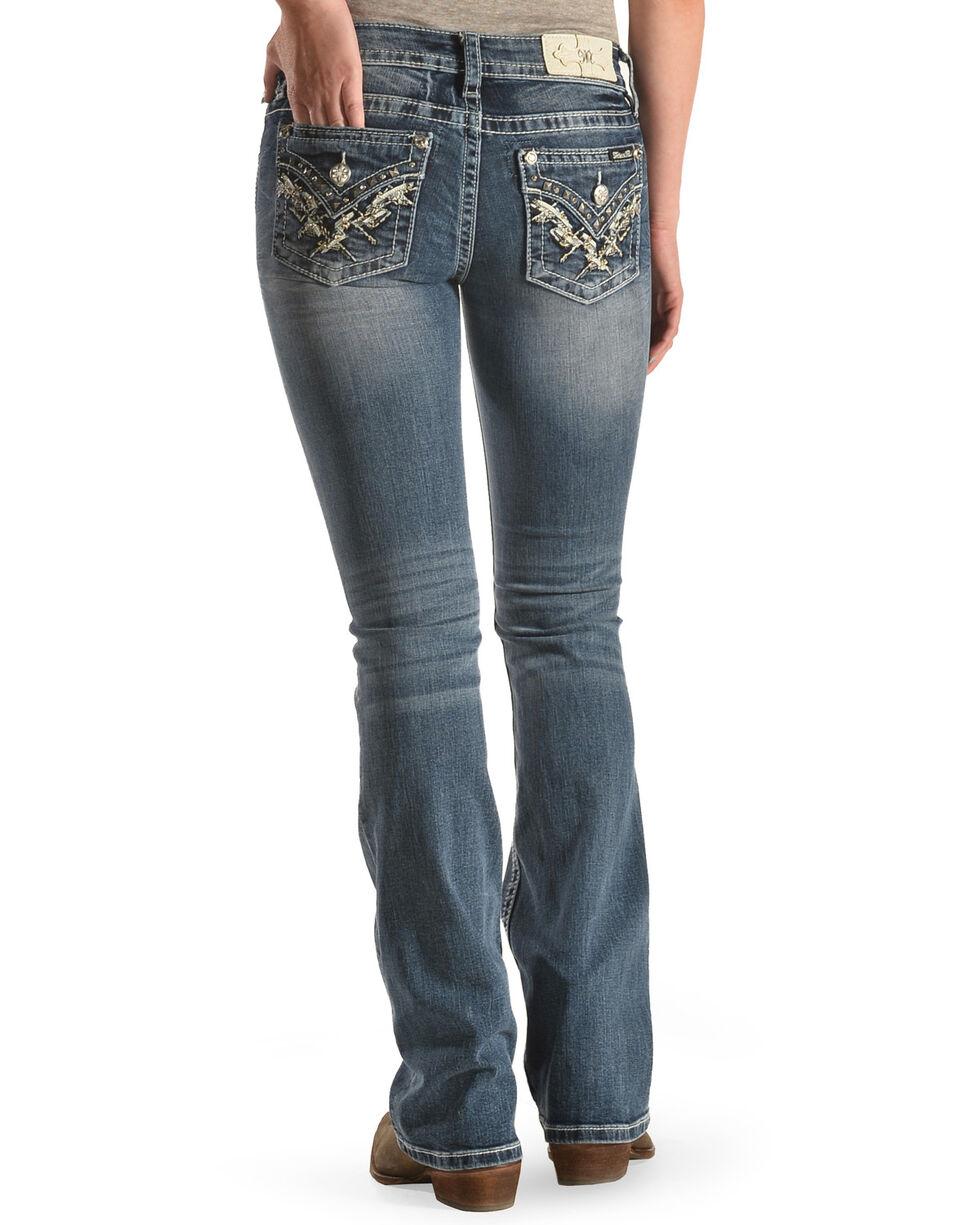 Miss Me Women's Pyramid Flap Boot Cut Jeans , , hi-res