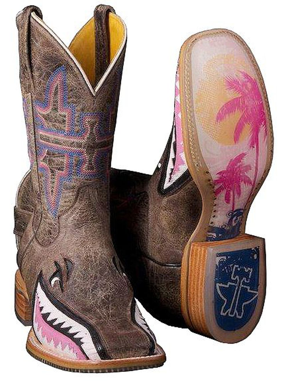 Tin Haul Man Eater Shark Cowgirl Boots - Square Toe, Dark Brown, hi-res
