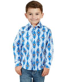 Wrangler Boys' Blue Aztec Checotah Print Long Sleeve Western Shirt , Blue, hi-res