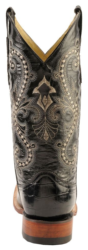 Ferrini Belly Caiman Alligator Print Cowboy Boots - Square Toe, Black, hi-res