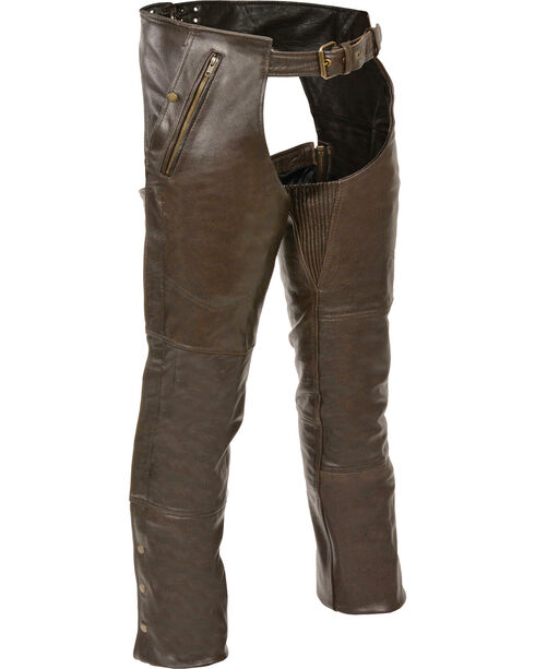 Milwaukee Leather Men's Retro Brown Four Pocket Thermal Lined Chaps - 5X, Brown, hi-res
